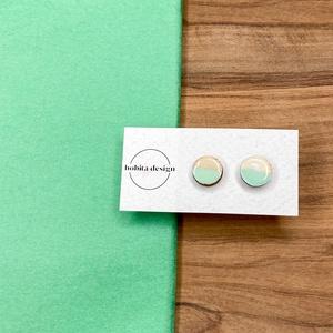 Natur pastell fülbevaló - menta, Ékszer, Fülbevaló, Pötty fülbevaló, A Natur Pastell kollekció lényege az egyszerű fa textúra pasztell színekkel kombinálva az egyszerűsé..., Meska