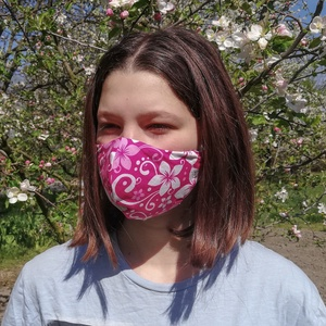 Szűrőbetétes maszk, NŐI arcmaszk, maszk, rózsaszín virágos, NoWaste, Textilek, Kendő, Táska, Divat & Szépség, Szépség(ápolás), Egészségmegőrzés, Maszk, szájmaszk, Varrás, Az általam készített maszk különlegessége, hogy a szabásmintának, illetve egy speciális fém orrnyere..., Meska