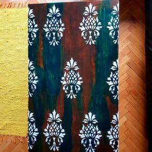 ASZTAL industrialis  stílusban barokk mintával, Asztal, Bútor, Otthon & Lakás, Famegmunkálás, Fémmegmunkálás, Az asztallap 4 cm vastag tömör Borovi fenyő, sötétbarna és a zöld színek játszanak rajta fehér barok..., Meska