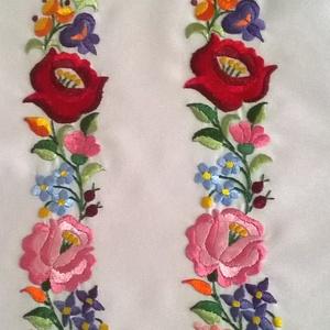 Díszítősáv menyasszonyi ruhára, Esküvő, Kiegészítők, Öv & Pánt, Nagyon szép kalocsai virágokból állítottam össze ezt a díszítősávot. A népművészet színei szerint sz..., Meska
