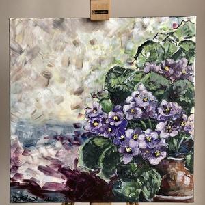 Ibolya, Művészet, Festmény, Akril, Festészet, 40x40 cm-es fokföldi ibolya festmény, Meska