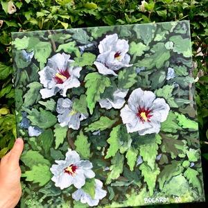 Fehér virágok, Művészet, Festmény, Akril, Festészet, 40x40 cm-es akril festmény, feszített vásznon, Meska