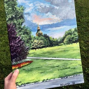Margit-sziget, Művészet, Festmény, Akril, Festészet, 30x40 cm-es akril tájkép, Meska