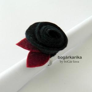 Rózsa gyűrű - mély kék+bordó (bogarkarika) - Meska.hu