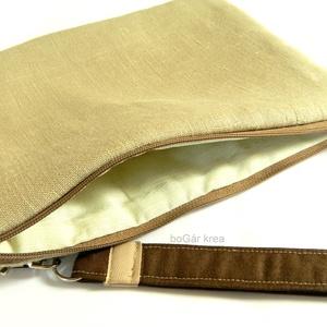 Kézi táska, neszesszer, irattartó, tároló, kozmetikai táska - drapp, Táska & Tok, Kézitáska & válltáska, Lenvászonból készült bélelt táska, csuklóra akasztható, cipzárral záródik. Csuklópántja levehető, ak..., Meska