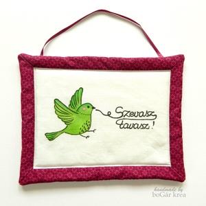 Zöld madár - szevasz tavasz - kézzel festett textil falikép (boGarkrea) - Meska.hu