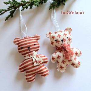 Piros mackók - csíkos, mintás - 2 db - karácsonyi dísz, függeszthető dekoráció (boGarkrea) - Meska.hu