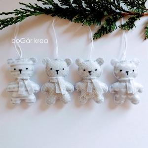 Jeges mackók - pöttyös, mintás - 4 db - karácsonyi dísz, függeszthető dekoráció - Meska.hu