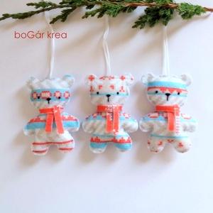 Karácsonyi mackók - 3 db - karácsonyi dísz, függeszthető dekoráció - Meska.hu