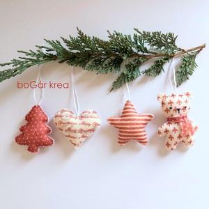 Piros-fehér karácsonyi díszek II. - 4 db - függeszthető dekoráció (boGarkrea) - Meska.hu