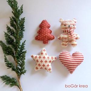 Piros-fehér karácsonyi díszek III. - 4 db - függeszthető dekoráció (boGarkrea) - Meska.hu