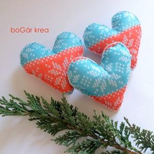 Karácsonyi szív, norvég mintás - 3 db függeszthető dísz (boGarkrea) - Meska.hu