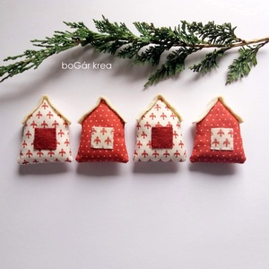 Négy házikó - karácsonyi dísz, függeszthető dekoráció (boGarkrea) - Meska.hu