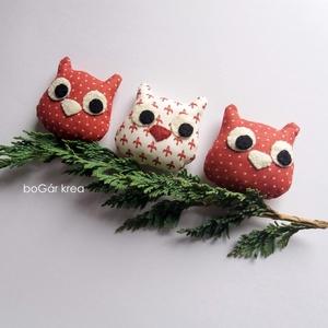 Három bagoly II. - karácsonyi dísz, függeszthető dekoráció - Meska.hu