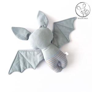 Denevér bébi, kék fülű - textil figura - baby bat - játék állat (boGarkrea) - Meska.hu