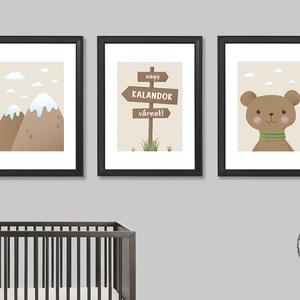 Nagy kalandok várnak! (bézs, 3 darabos szett) - nyomat, illusztráció, print, poszter, falikép, dekoráció, Kép & Falikép, Dekoráció, Otthon & Lakás, Fotó, grafika, rajz, illusztráció, Saját tervezésű illusztráció.\nElsősorban gyerekszobákba ajánlom, de a természet, a kalandok kedvelői..., Meska