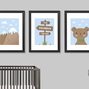 Nagy kalandok várnak! (kék, 3 darabos szett) - nyomat, illusztráció, print, poszter, falikép, dekoráció, Otthon & Lakás, Kép & Falikép, Dekoráció, Saját tervezésű illusztráció. Elsősorban gyerekszobákba ajánlom, de a természet, a kalandok kedvelői..., Meska