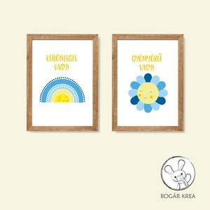 Különleges vagy! (kék, 2 darabos szett) - nyomat, illusztráció, print, poszter, falikép, dekoráció, Otthon & Lakás, Kép & Falikép, Dekoráció, Saját tervezésű illusztráció. Elsősorban gyerekszobákba ajánlom, de bárkinek pozitív megerősítést, t..., Meska