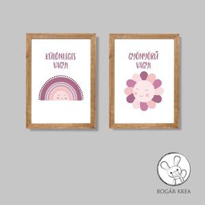 Különleges vagy! (bordó, 2 darabos szett) - nyomat, illusztráció, print, poszter, falikép, dekoráció (boGarkrea) - Meska.hu