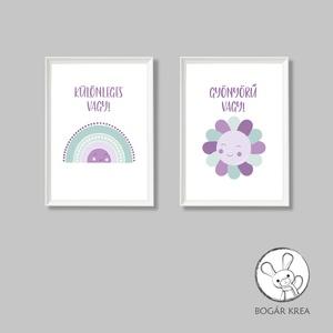 Különleges vagy! (lila-menta, 2 darabos szett) - nyomat, illusztráció, print, poszter, falikép, dekoráció (boGarkrea) - Meska.hu