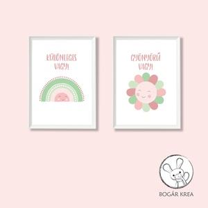 Különleges vagy! (rózsaszín-zöld, 2 darabos szett) - nyomat, illusztráció, print, poszter, falikép, dekoráció, Otthon & Lakás, Kép & Falikép, Dekoráció, Saját tervezésű illusztráció. Elsősorban gyerekszobákba ajánlom, de bárkinek pozitív megerősítést, t..., Meska