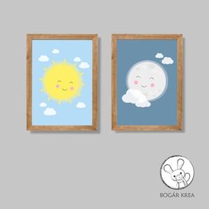 Szép álmokat, csodás nappalokat! (kék, 2 darabos szett) - nyomat, illusztráció, print, poszter, falikép, dekoráció (boGarkrea) - Meska.hu