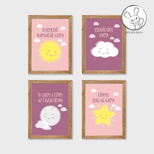 Csoda vagy! (rózsaszín, 4 darabos szett) - nyomat, illusztráció, print, poszter, falikép, dekoráció, Otthon & Lakás, Kép & Falikép, Dekoráció, Saját tervezésű illusztráció. Elsősorban gyerekszobákba ajánlom, de bárkinek pozitív megerősítést, t..., Meska
