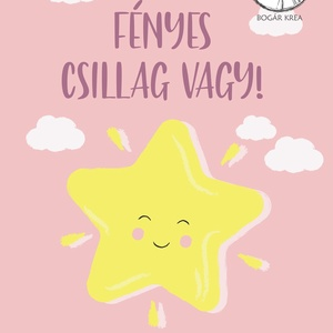 Csoda vagy! (rózsaszín, 4 darabos szett) - nyomat, illusztráció, print, poszter, falikép, dekoráció (boGarkrea) - Meska.hu