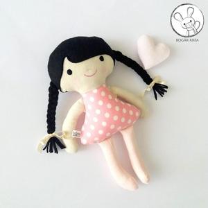 Rózsa baba + kabala szívecske - textil figura, puha baba, designer fejlesztő játék, Játék & Gyerek, Baba, Baba & babaház, Minden darab egyedi, kézzel készült, így garantáltan nem lesz ilyen senki másnak! :)  A baba testét ..., Meska