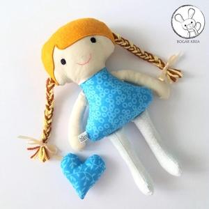 Nefelejcs baba + kabala szívecske - textil figura, puha baba, designer fejlesztő játék - Meska.hu