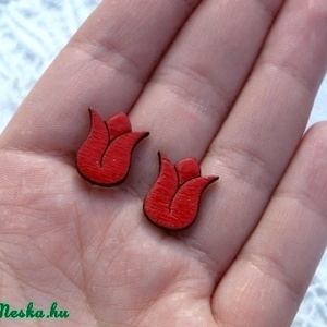 Piros tulipán - fülbevaló - Meska.hu