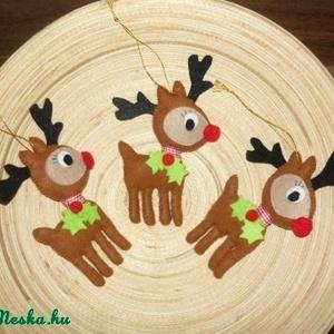 Karácsonyfadísz, Dekoráció, Otthon & lakás, Ünnepi dekoráció, Karácsony, Karácsonyfadísz, Varrás, Filc anyagból  helyes kis rénszarvas karácsonyfadíszeket készítettem. (3db/csomag, 650 Ft/db)\nA post..., Meska