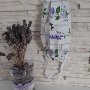 Női textil arcmaszk - levendula kollekció, kispillangós levendula, Maszk, Arcmaszk, Női, Varrás, Meska