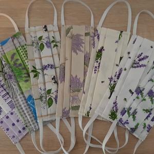Női textil arcmaszk - levendula kollekció, romantikus levendulacsokrok bézs alapon - Meska.hu
