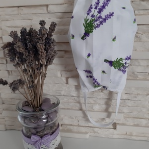 Női textil arcmaszk - levendula kollekció, nagy levendulacsokor fehér alapon, Maszk, Arcmaszk, Női, Varrás, Meska
