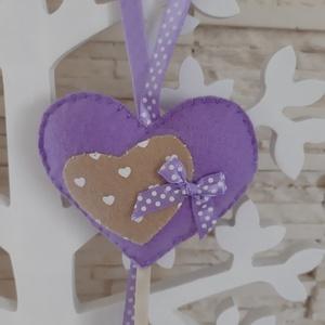 Filc szívecskés dekoráció - lila színben, Otthon & Lakás, Függődísz, Dekoráció, Varrás, Mindenmás, Meska