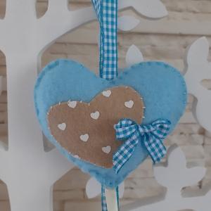 Filc szívecskés dekoráció - kék színvilágban, Otthon & Lakás, Függődísz, Dekoráció, Varrás, Mindenmás, Meska