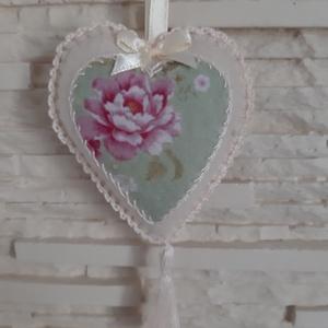 Szívecske filc dekoráció - pasztellzöld rózsa, Otthon & Lakás, Falra akasztható dekor, Dekoráció, Varrás, Mindenmás, Meska