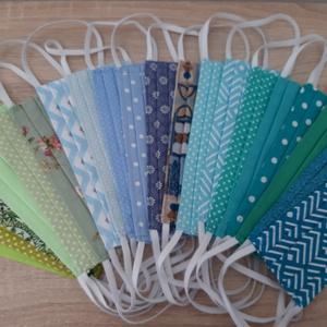 Női textil arcmaszk - világostürkiz, cikk-cakk mintás - Meska.hu