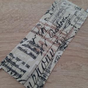 Női textil arcmaszk - bézs, kottamintával - Meska.hu