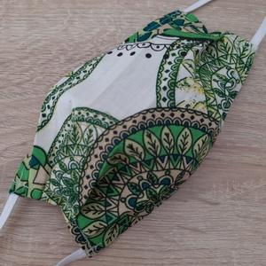 Női textil arcmaszk - zöld, mandalamintás, Egyéb, NoWaste, Textilek, Varrás, Az ár 1 db maszkra vonatkozik!\n\nTextil maszk hölgyeknek.\n\nKönnyű, kényelmes, mosható, többször felha..., Meska