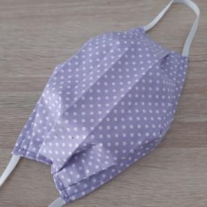 Drótos textil arcmaszk hölgyeknek - levendulalila, pöttyös, Maszk, Arcmaszk, Női, Varrás, Meska