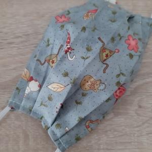 Prémium, drótos textil arcmaszk hölgyeknek - kékesszürke, nyuszis, Maszk, Arcmaszk, Női, Prémium minőségű, designer textilből készült maszk hölgyeknek, az orrnál drótos megoldással, bevarrt..., Meska