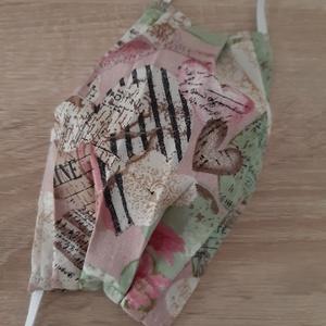 Női textil arcmaszk - rózsaszín, pasztell szívecskékkel, Maszk, Arcmaszk, Női, Varrás, Meska
