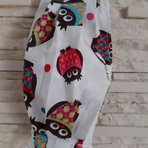 Gyermek textil maszk - fehér, duci baglyokkal, Maszk, Arcmaszk, Gyerek, Varrás, Meska