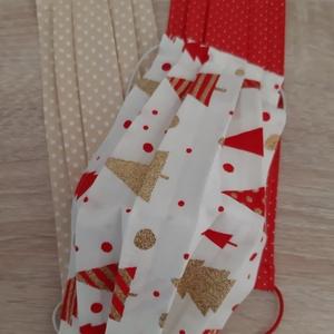 Karácsonyi textil arcmaszk 3 db-os szettben - bézs-piros szett, bézs fenyős mintával, Maszk, Arcmaszk, Női, Varrás, Könnyű, kényelmes, 100% pamut textilből készült, mosható, többször felhasználható arcmaszk szett, ka..., Meska