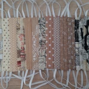 Női textil arcmaszk - fehér, bordó virágmintával - Meska.hu
