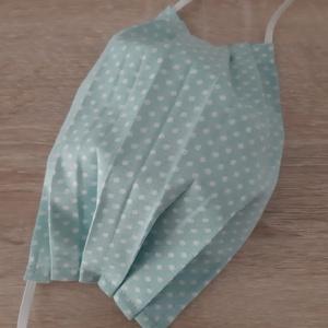 Drótos textil arcmaszk hölgyeknek - halvány türkiz, pöttyös, Maszk, Arcmaszk, Női, Varrás, Meska