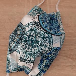 Drótos textil arcmaszk hölgyeknek - mandalás, kék árnyalatokban, Maszk, Arcmaszk, Női, Varrás, Meska