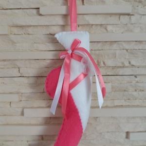 Filc dísz balerináknak - babarózsaszín, fehér organza virággal, Otthon & Lakás, Dekoráció, Falra akasztható dekor, Mindenmás, Varrás, Meska